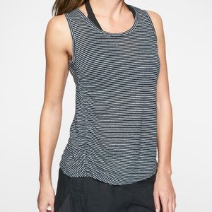 Athleta Linen Navy Sea Salt Striped Ruched Tank